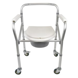 Folding Toilet Commode with Wheels First Seat Up