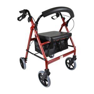 PE Care 8 Inch wheel Walker Red