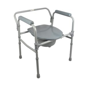 PE Care Folding Commode Chair Grey